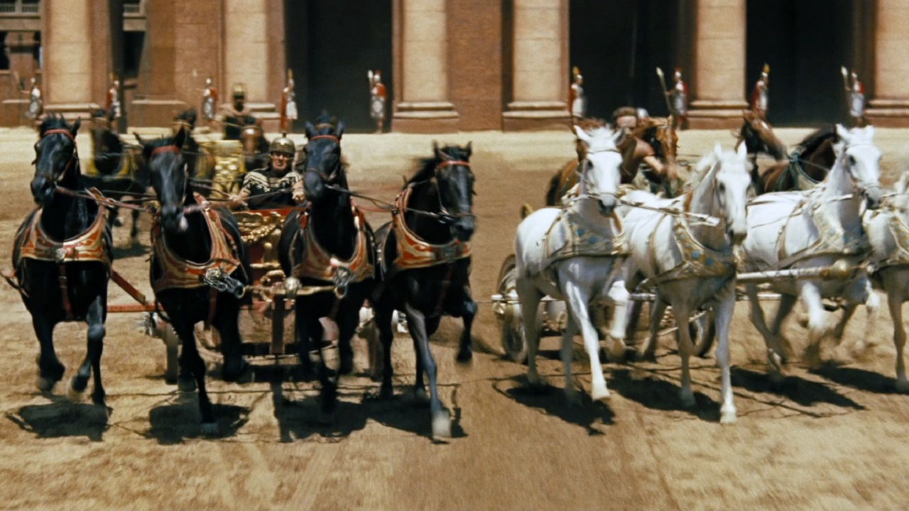 (Image: Chariot-racing scene from Ben Hur)