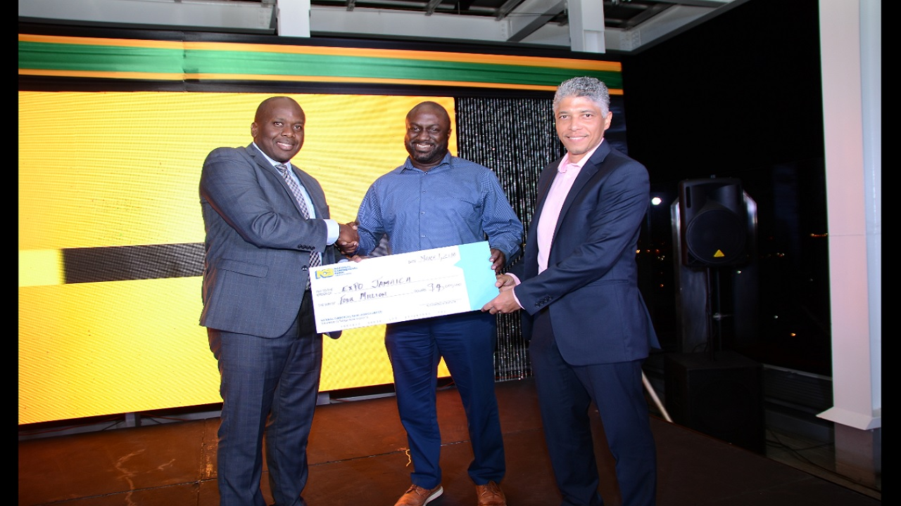 NCB hands over $4M cheque for Expo Jamaica. 