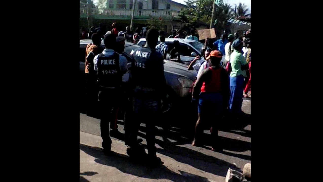 Screenshot of a video of the protest in Annotto Bay on Thursday morning.