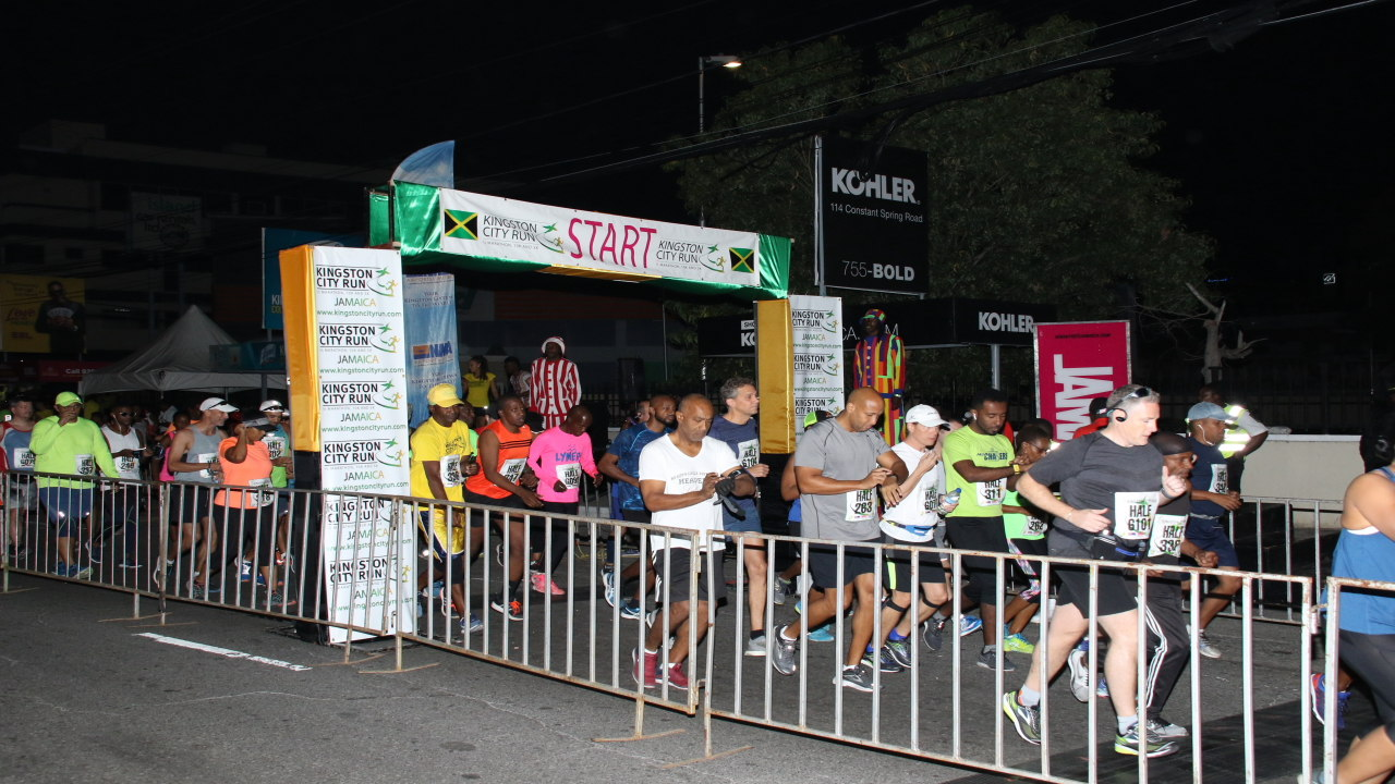 Runners start the Half-Marathon race in the Kingston City Run on Sunday morning. (PHOTOS: Llewellyn Wynter)