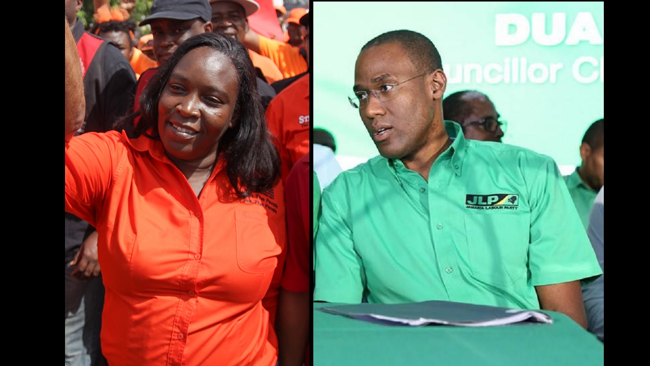 Keisha Hayle and Dr Nigel Clarke face off in North West St Andrew on Monday.