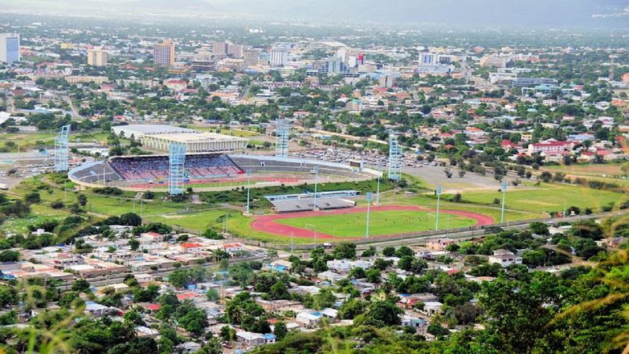 An aerial view of a section of the city of Kingston, including the National Stadium complex.