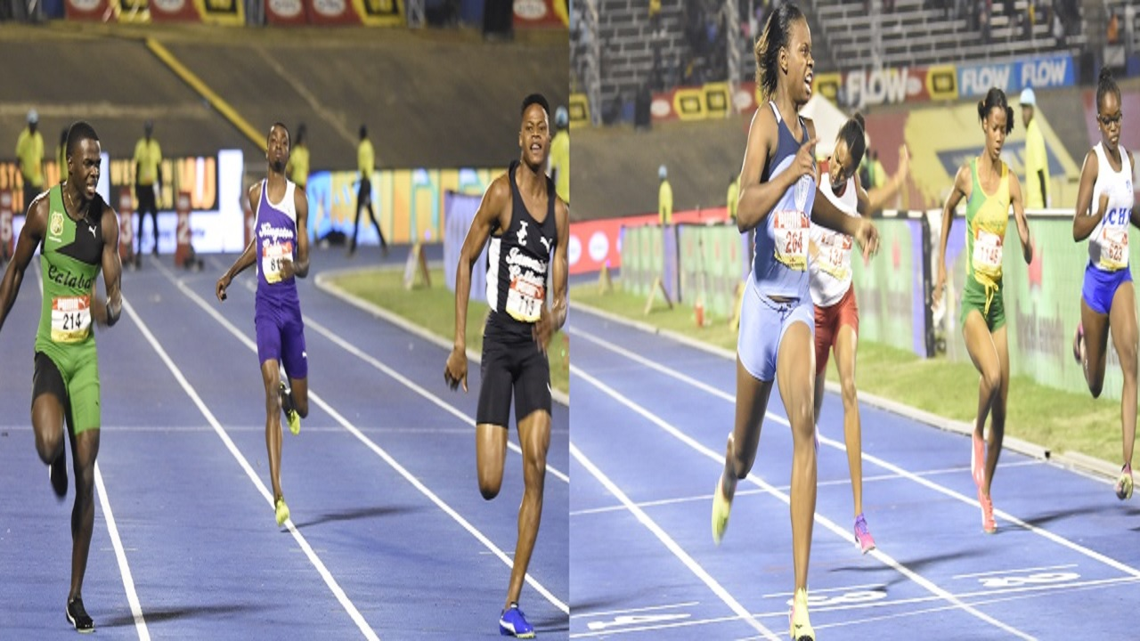 The combination of pictures show action from the Boys' Class 1 100m final and the Girls' Class 2 100m final on Friday at the Boys and Girls' Athletics Championships at the National Stadium. At left, Calabar's Tyreke Wilson gets the better of JC's Ryiem Robertson; while at right Kevona Davis of Edwin Allen wins in a new meet record time. (PHOTOS: Marlon Reid).