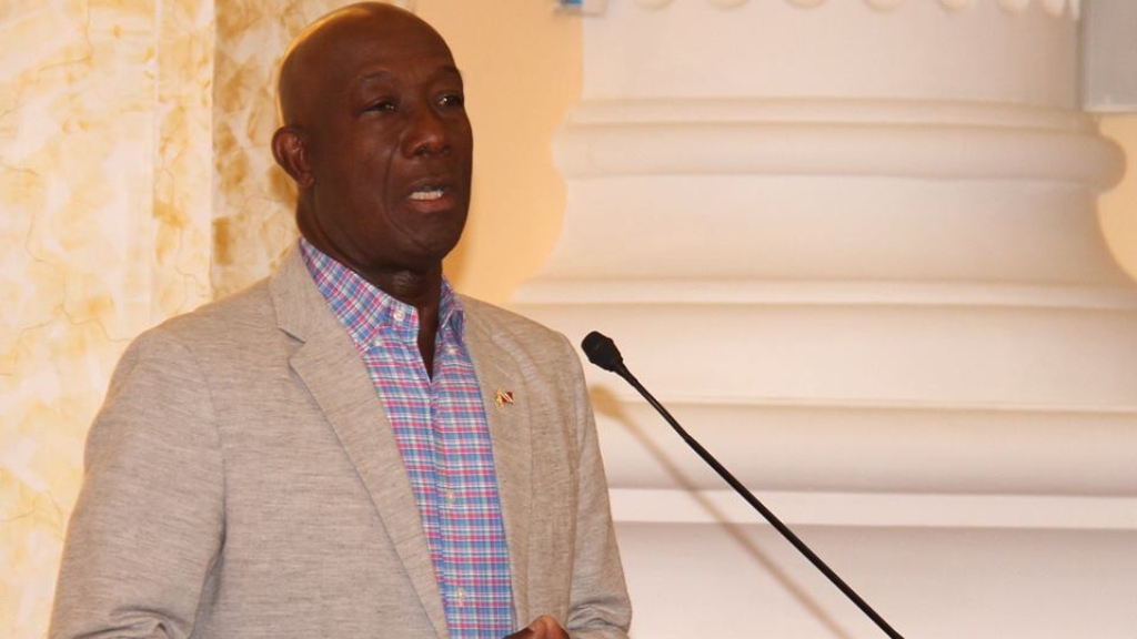 (Photo: Prime Minister Dr Keith Rowley speaking on the issue of domestic violence at a breakfast held at the PM's Office earlier this month.)