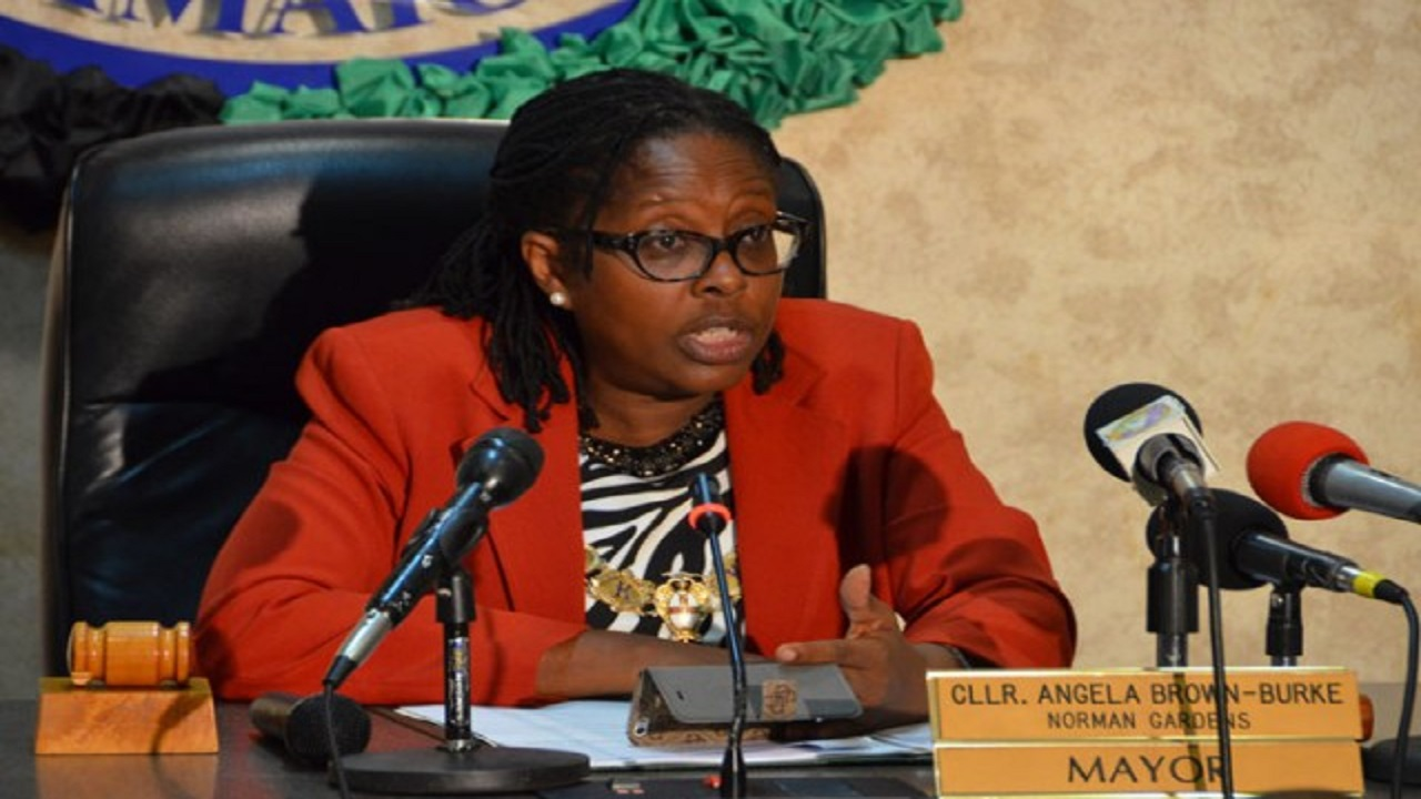 Angela Brown Burke when she was the Mayor of Kingston.