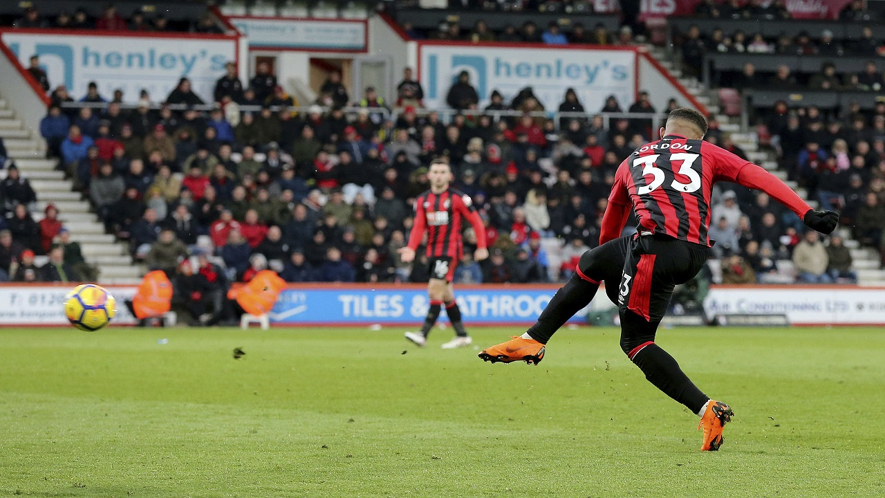 Bournemouth's Jordon Ibe scores against West Bromwich Albion during their English Premier League football match at the Vitality Stadium, Bournemouth, England, Saturday March 17, 2018.