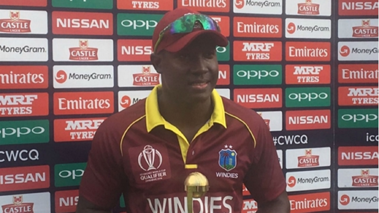 Jamaican Rovman Powell after his century against Ireland.