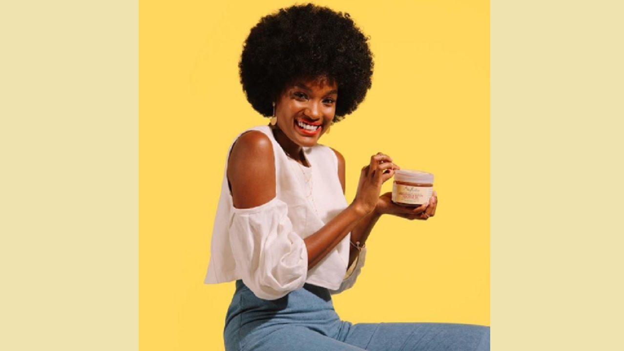 Shea Moisture posted this promotional image of Davina Bennett with its product in announcing a partnership deal with the Jamaican beauty queen. (PHOTO: Instagram)