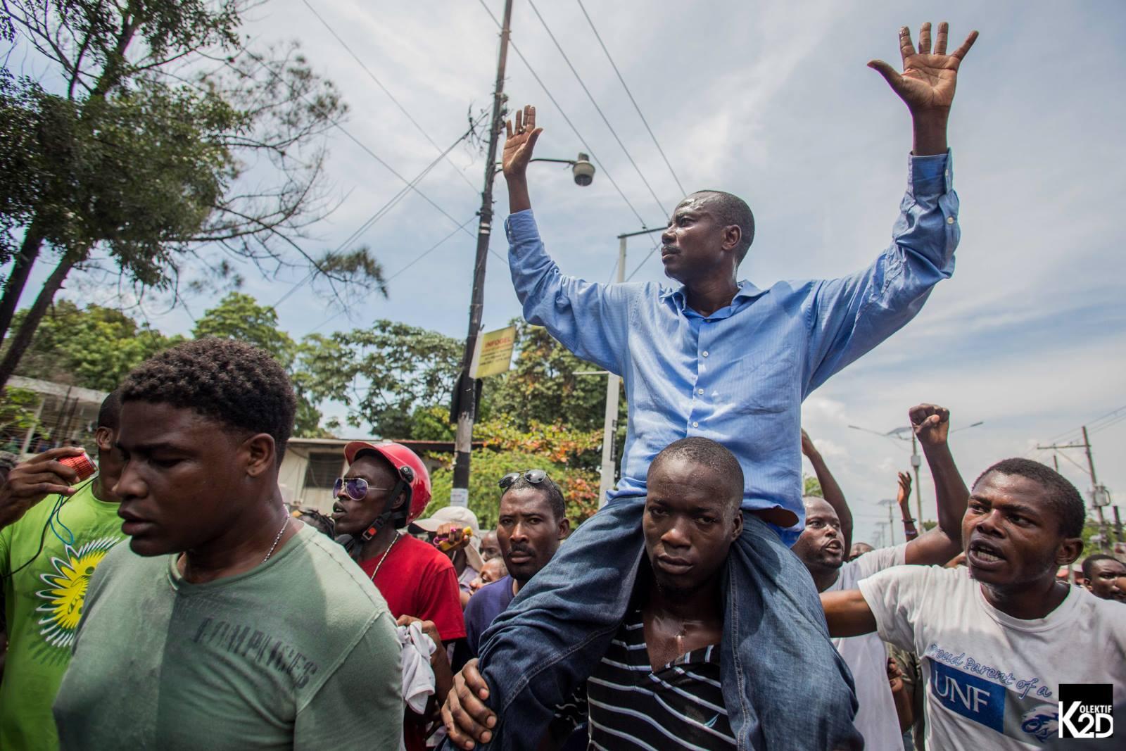 Moise Jean Charles lors d'une manifestation le 13 septembre 2017. Photo : Jeanty Junior Augustin/K2D