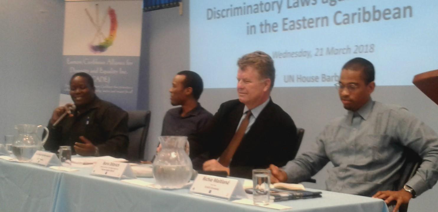 (L-R) Kenita Placide, Executive Director of ECADE; Rene Holder-McClean-Ramirez, Chair of ECADE, Borris Dittrich, Advocacy Director, Human Rights Watch and Richie Maitland, Vice-Chair of ECADE.