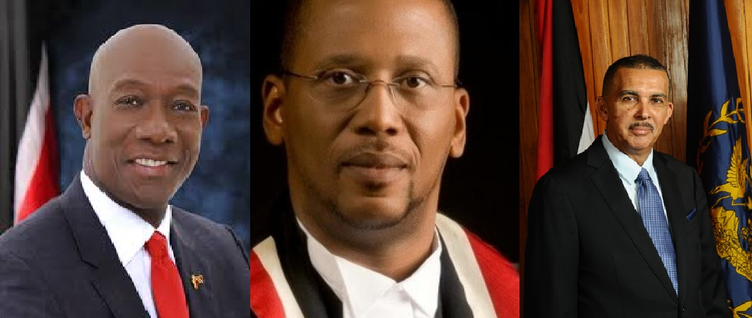 Prime Minister Dr Keith Rowley (left), Chief Justice Ivor Archie (centre), President Anthony Carmona (right).