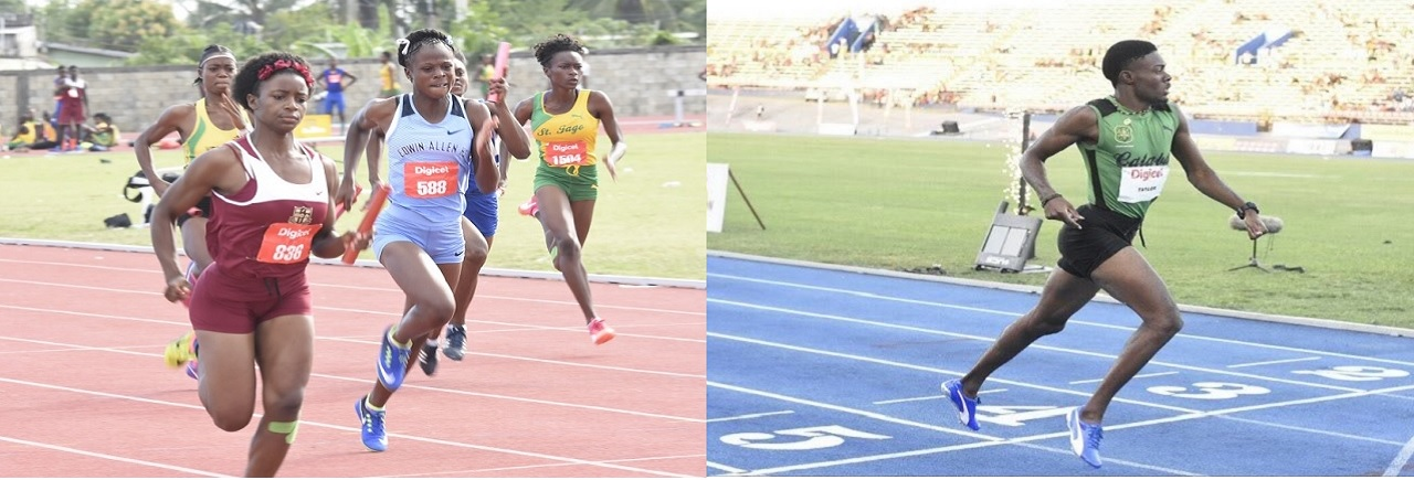 The combination of photos show Holmwood Technical and Edwin Allen battling for honours (at left) and Calabar's top sprinter Christopher Taylor  is all alone at the finish line in the Boys' Under 20 400m final at the Digicel Grand Prix Finale at the National Stadium on March 10. (PHOTOS: Marlon Reid).