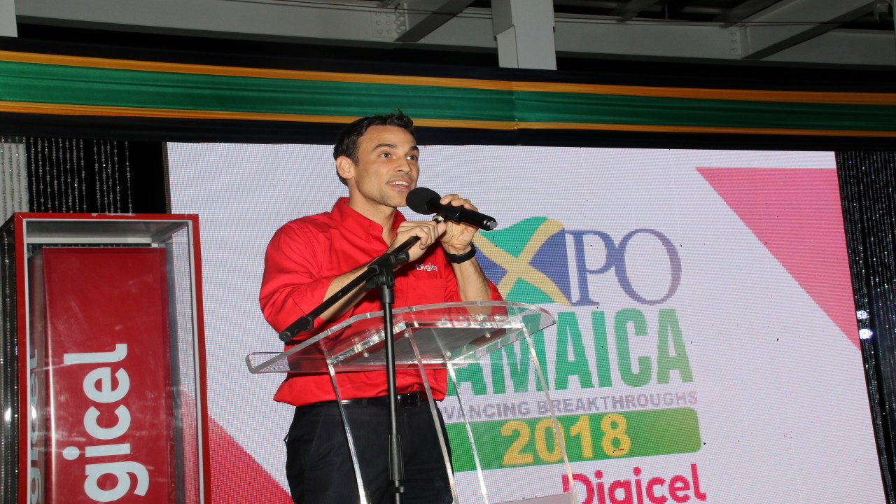 Justin Morin, CEO of Digicel Jamaica, speaks at the launch of Expo 2018 at the Digicel Group headquarters in downtown Kingston on Thursday. (PHOTOS: Llewellyn Wynter)
