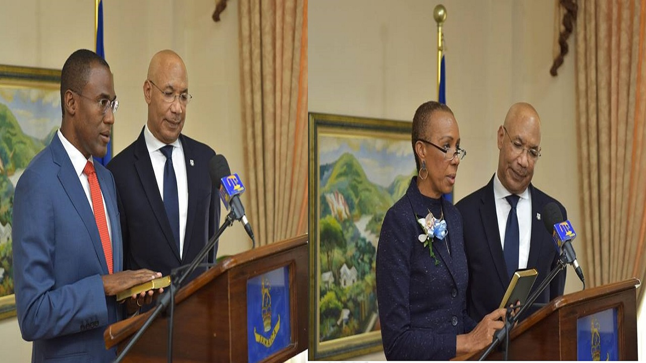 Dr Nigel Clarke (left) and Fayval Wiliiams (right) were sworn in as ministers by Governor General Sir Patrick Allen on Tuesday.