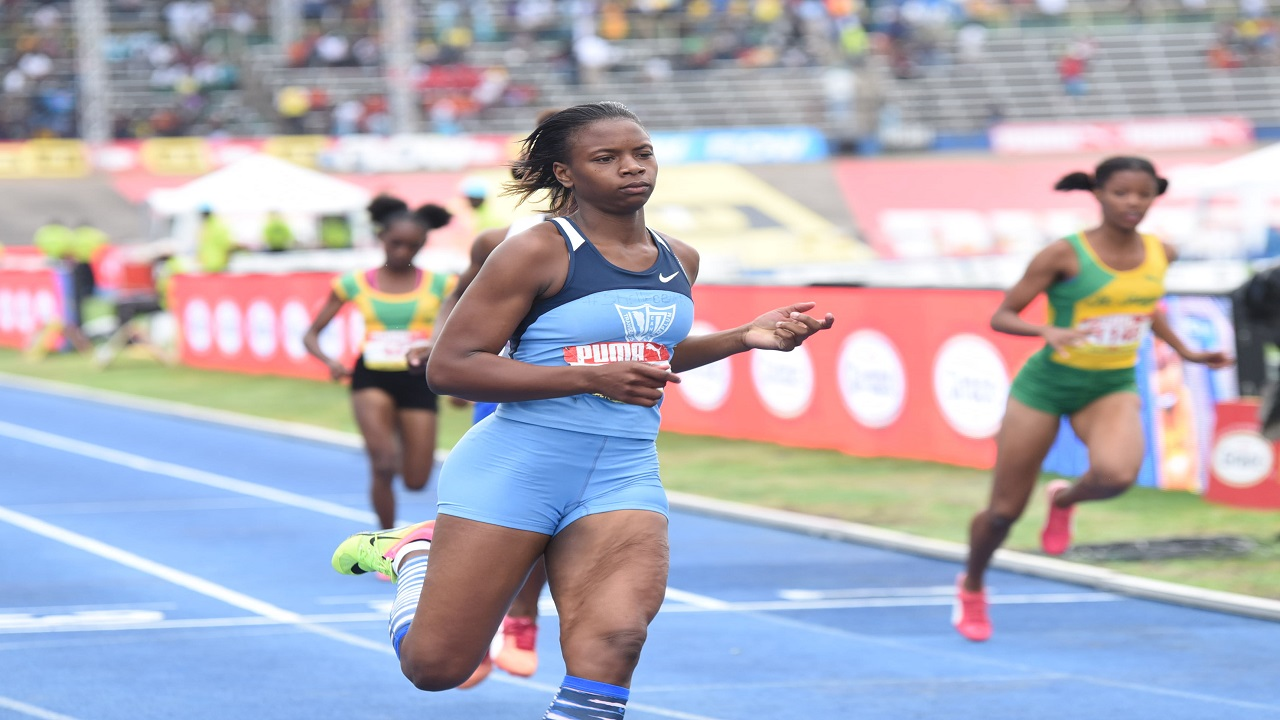 Kevona Davis of Edwin Allen High wins heat 1 of the Girls' Class 2 100m semi-finals in a new meet record time of 11.35 seconds on Friday at the 2018 ISSA/GraceKennedy Boys and Girls' Athletics Championships, at the National Stadium.