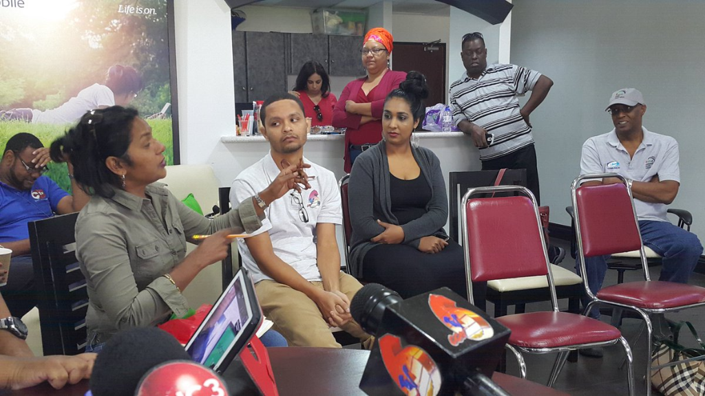 Dr Sheila Rampersad raises a point at an emergency meeting of the Media Association at the TSTT Booth, Queen's Park Oval on Saturday, March 24, 2018.
