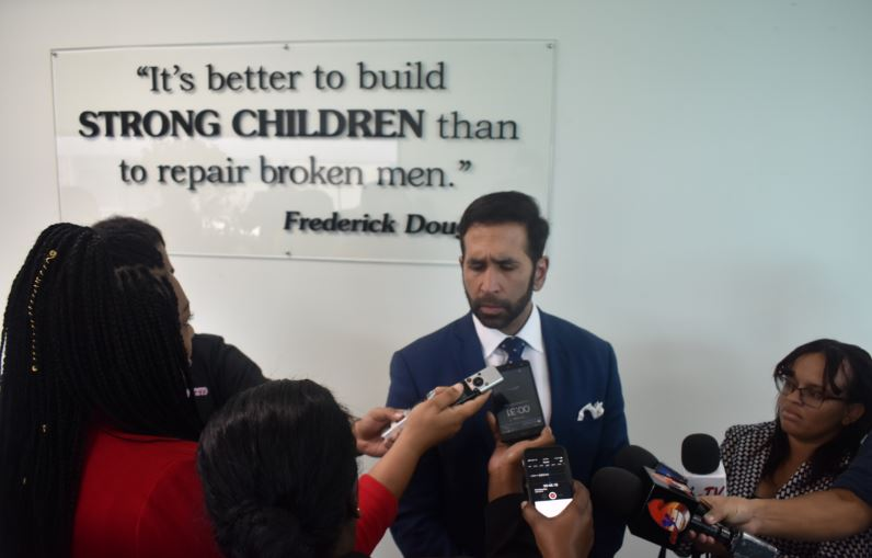 Attorney General Faris Al-Rawi addresses media at the opening of the Children Court at Elizabeth Street, St Clair, on March 6.