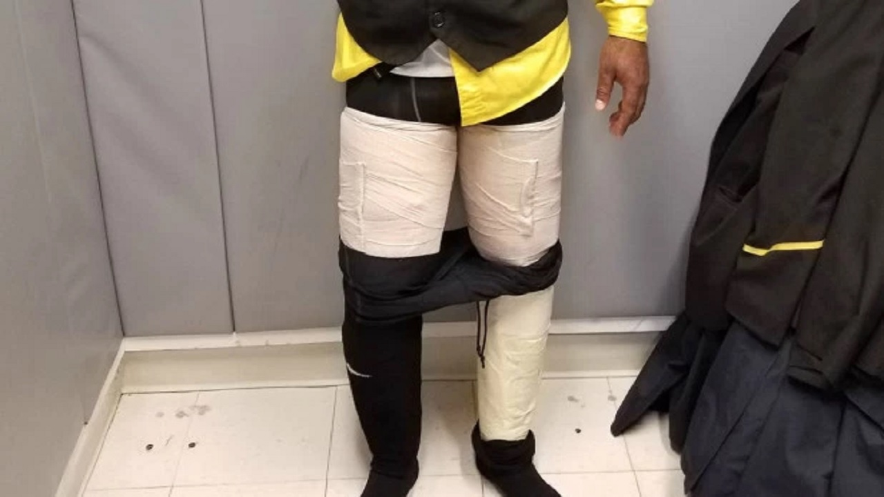 Fly Jamaica Airways crew member Hugh Hall was reportedly caught with US$160,000 worth of cocaine taped to his legs after a flight. (PHOTO: US Customs and Border Protection)
