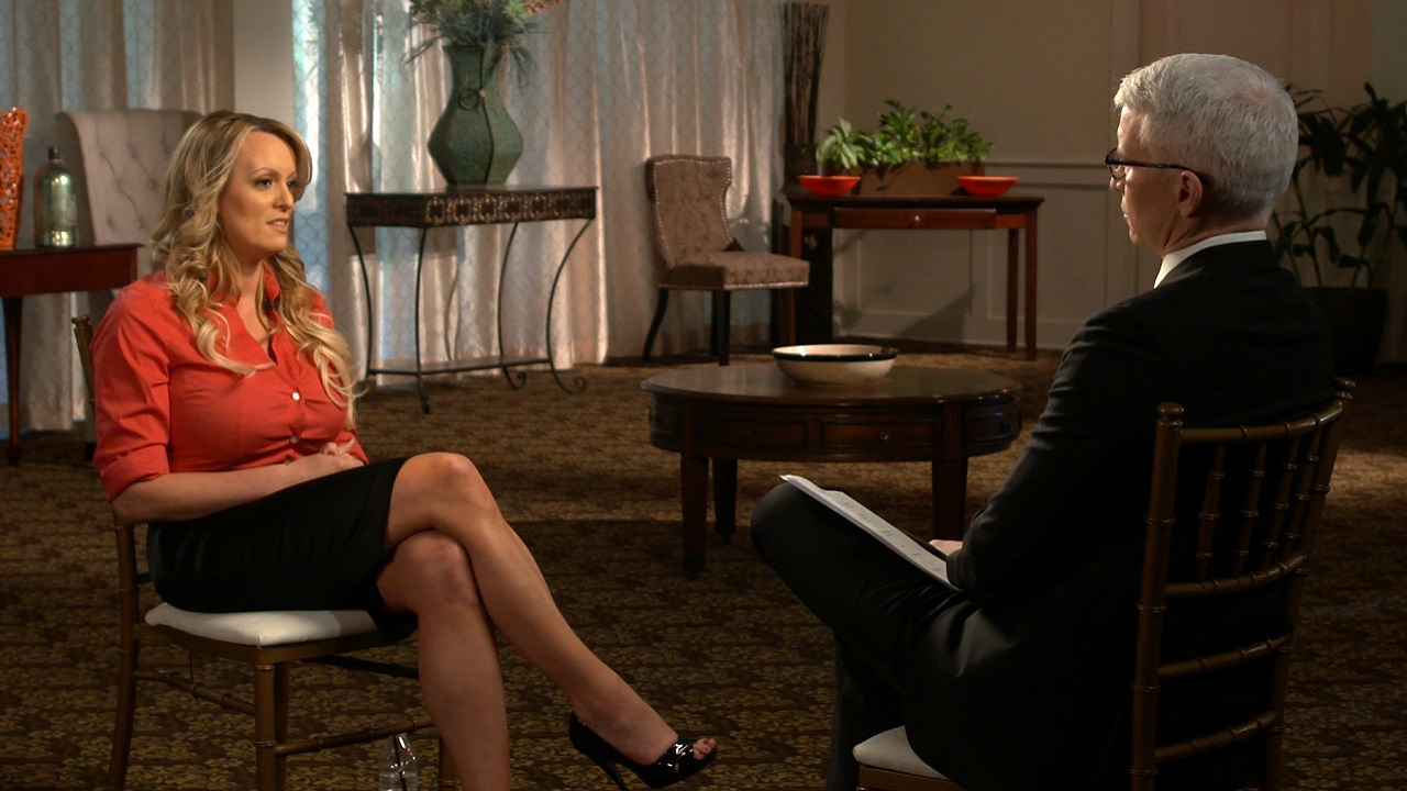 Image: AP: Stormy Daniels gives an interview to Anderson Cooper on 25 March 2018)