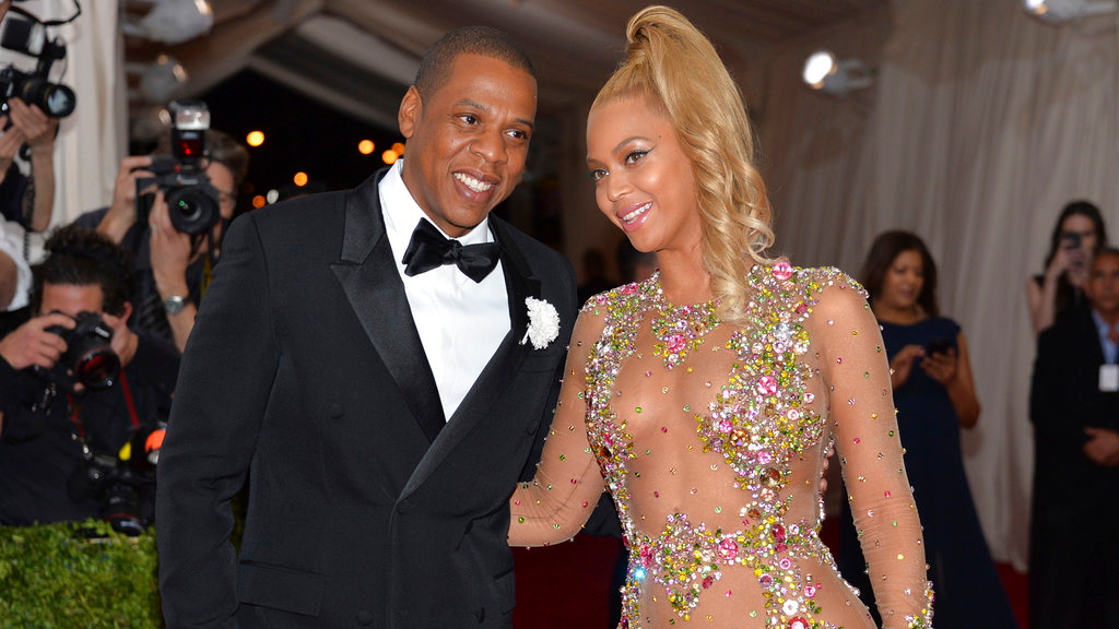"In this May 4, 2015, file photo, Jay Z, left, and Beyonce arrive at The Metropolitan Museum of Art's Costume Institute benefit gala celebrating ""China: Through the Looking Glass"" in New York."