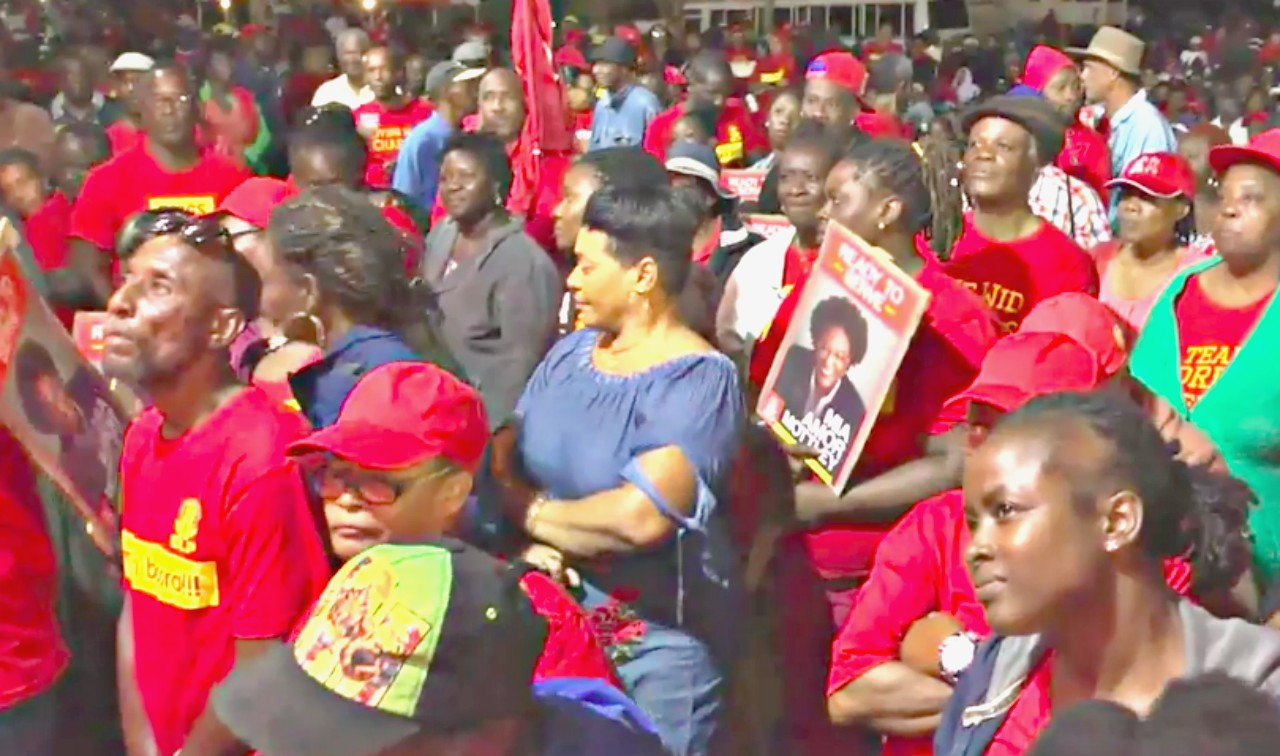 Crowd at Four Roads, St. John on Thursday night at the Barbados Labour Party (BLP) political meeting.