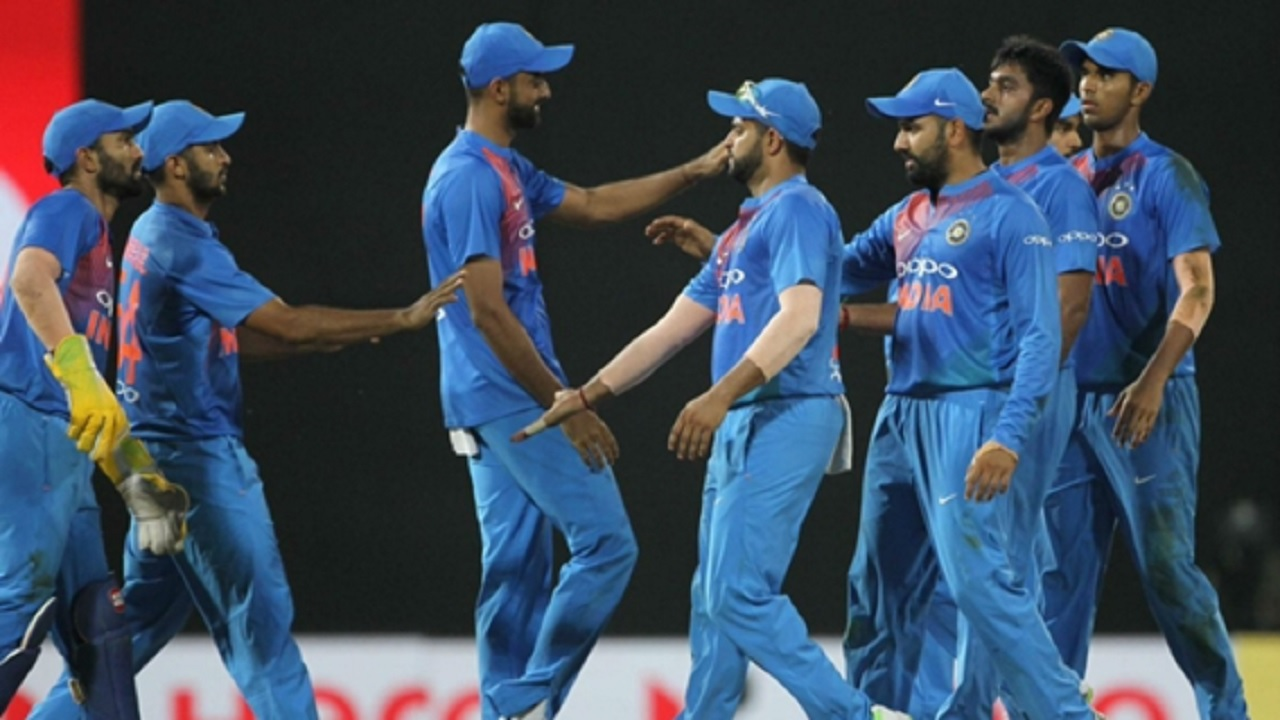 India celebrate beating Bangladesh in the Nidahas Trophy                     CREDIT: Twitter (@BCCI)