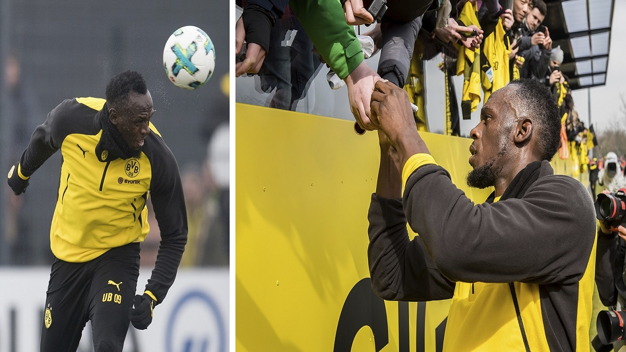 At left, Usain Bolt heads the ball during a practice session of the Borussia Dortmund football squad in Dortmund, Germany. At right, Bolt signs autographs for fans. (PHOTOS: AP)