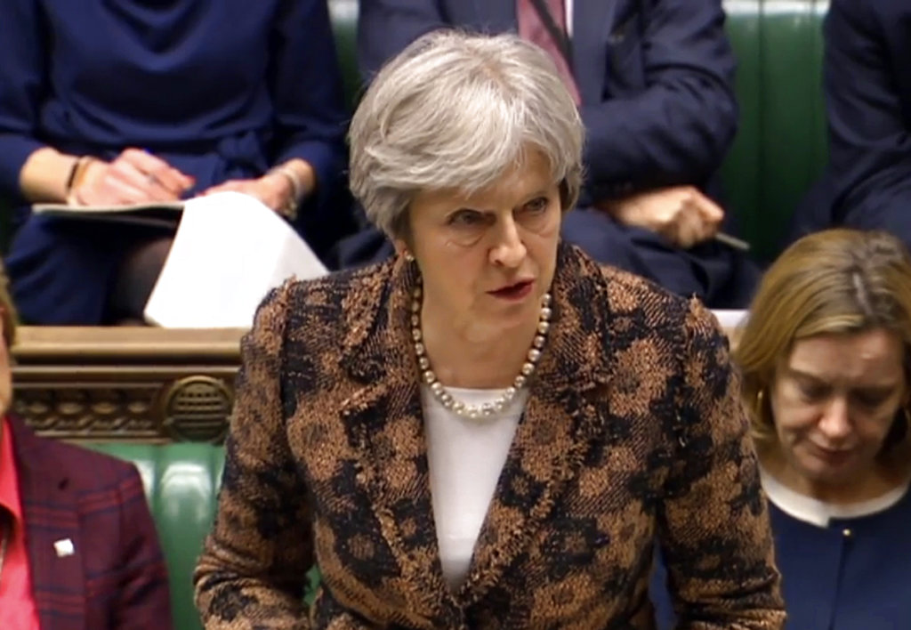 ritain's Prime Minister Theresa May speaks in the House of Commons in London. (PA via AP)