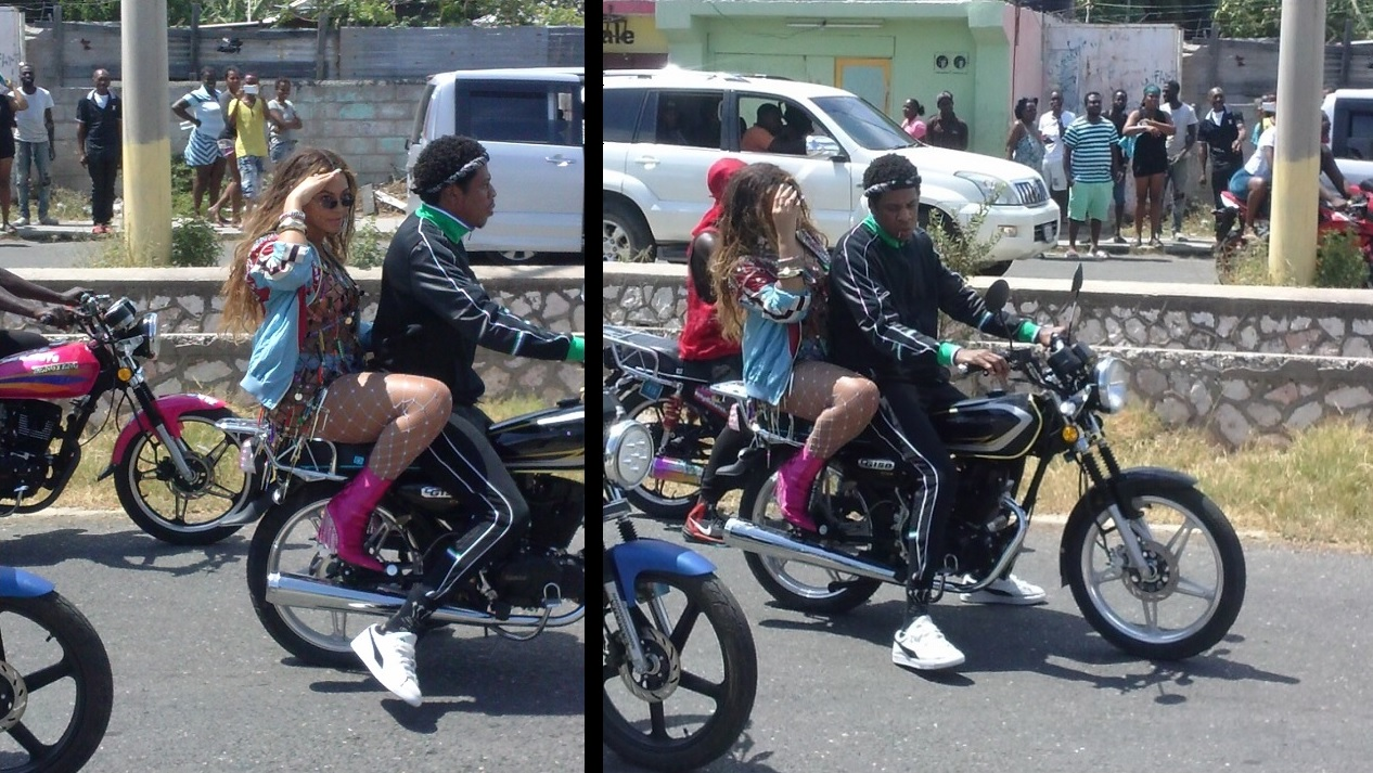 Beyonce and Jay-Z take a cruise on a motorcycle in Jamaica