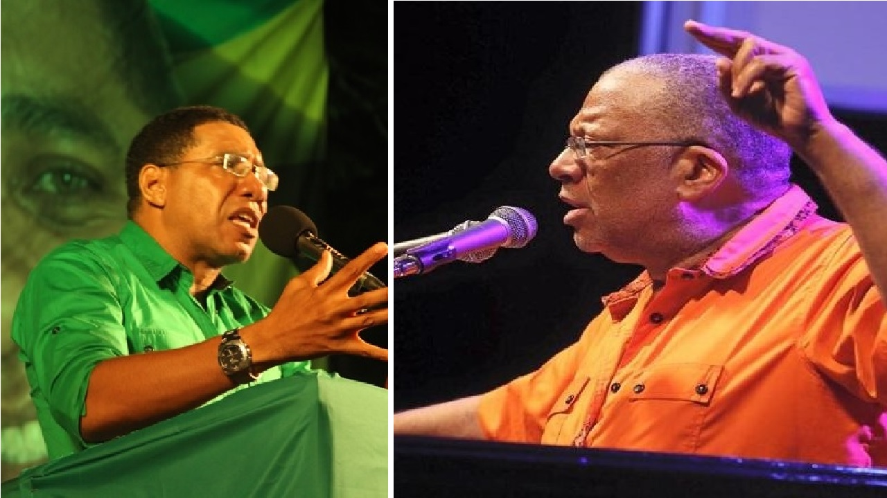 JLP leader and Prime Minister, Andrew Holness (left) and Opposition leader Peter Phillips