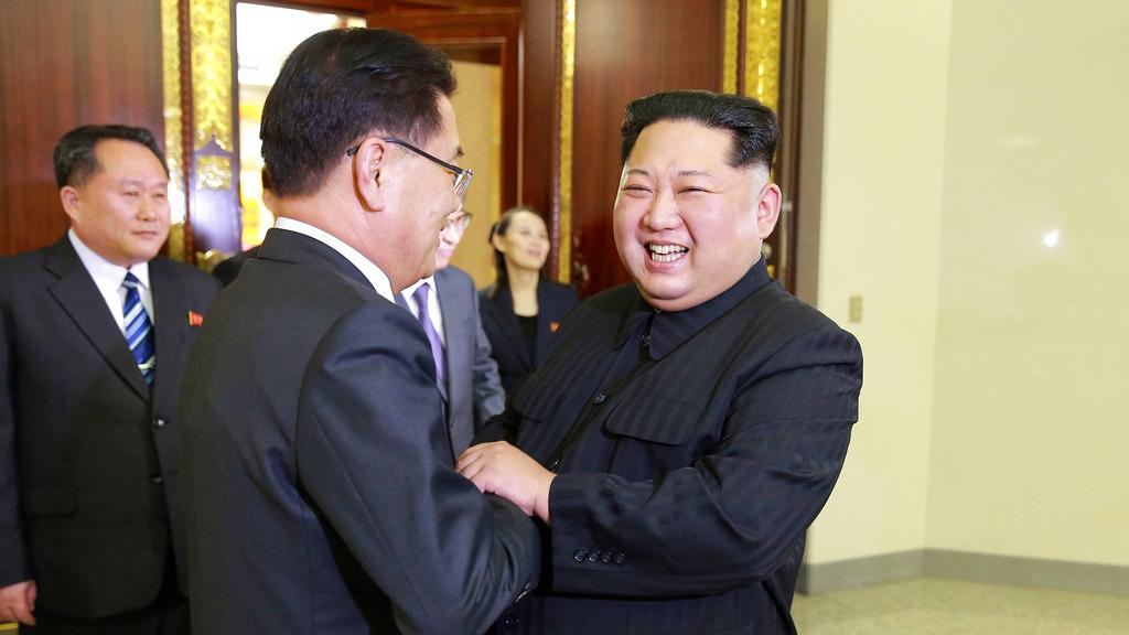 North Korean leader Kim Jong Un, front right, meets South Korean National Security Director Chung Eui-yong, front left, in Pyongyang, North Korea.  (Korean Central News Agency/Korea News Service via AP)