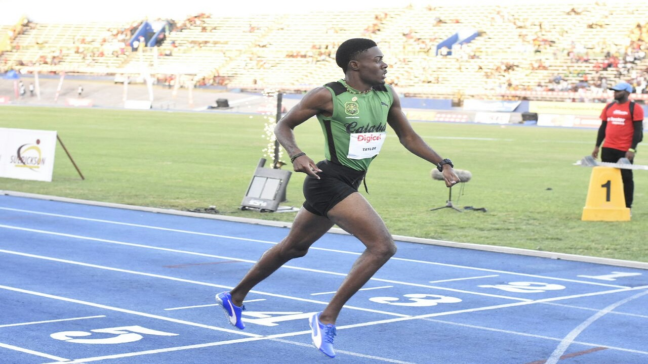 Calabar High's Christopher Taylor is all alone at the finish line in the Boys' Under 20 400-metre final at the Digicel Grand Prix Finale at the National Stadium on Saturday. (PHOTO: Marlon Reid).
