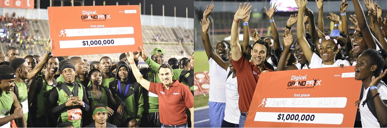 The combination of photos show  Justin Morin, chief executive officer for Digicel Jamaica  with athletes from Calabar  (left) and Edwin Allen, displaying their cheques, after the schools won the  fourth staging of theDigicel Grand Prix Athletics Championship on Saturday night at the National Stadium. (PHOTO: Marlon Reid).