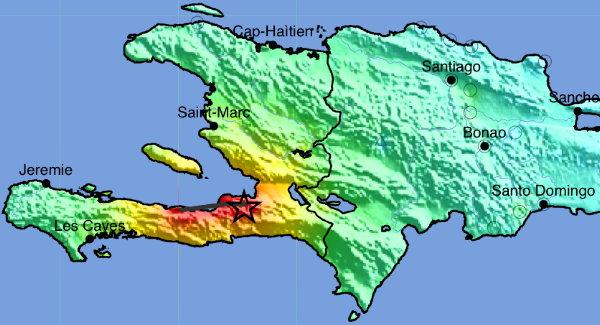Carte sismique d'Haïti