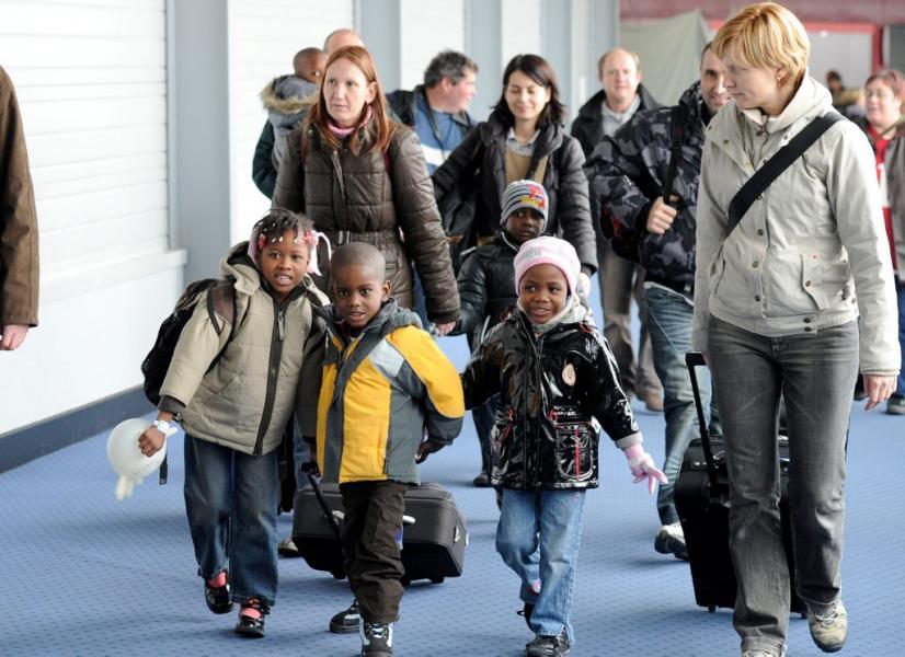 Une cohorte d'enfants haïtiens en France après le séisme du 12 janvier 2010./ Photo: DR
