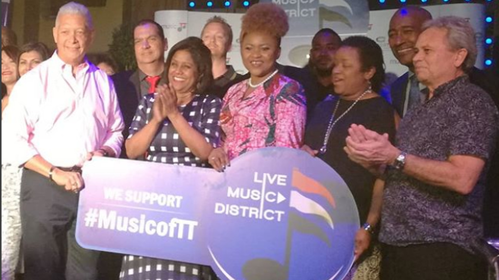 From L, PoS Mayor Joel Martinez, Trade Minister Paula Gopee-Scoon, Culture Minister Nyan Gadsby-Dolly, Allyson West, Minister in the Ministry of Finance and Finance Minister Colm Imbert were among the guests at the launch of the Live Music District.
