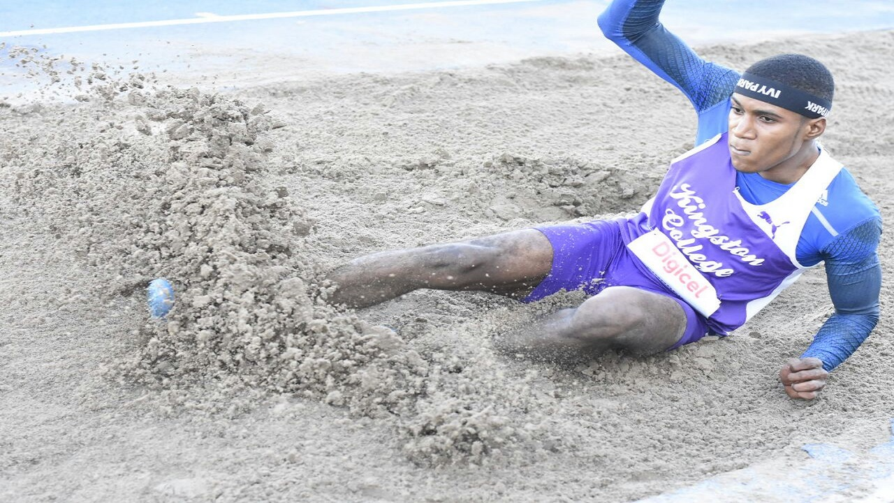 Wayne Pinnock of Kingston College competes in the Boys' Under 20 long jump final at the Digicel Grand Prix Finale - G C Foster Classic- at the National Stadium on Saturday. Pinnock won the event in a new meet record. (PHOTO: Marlon Reid).