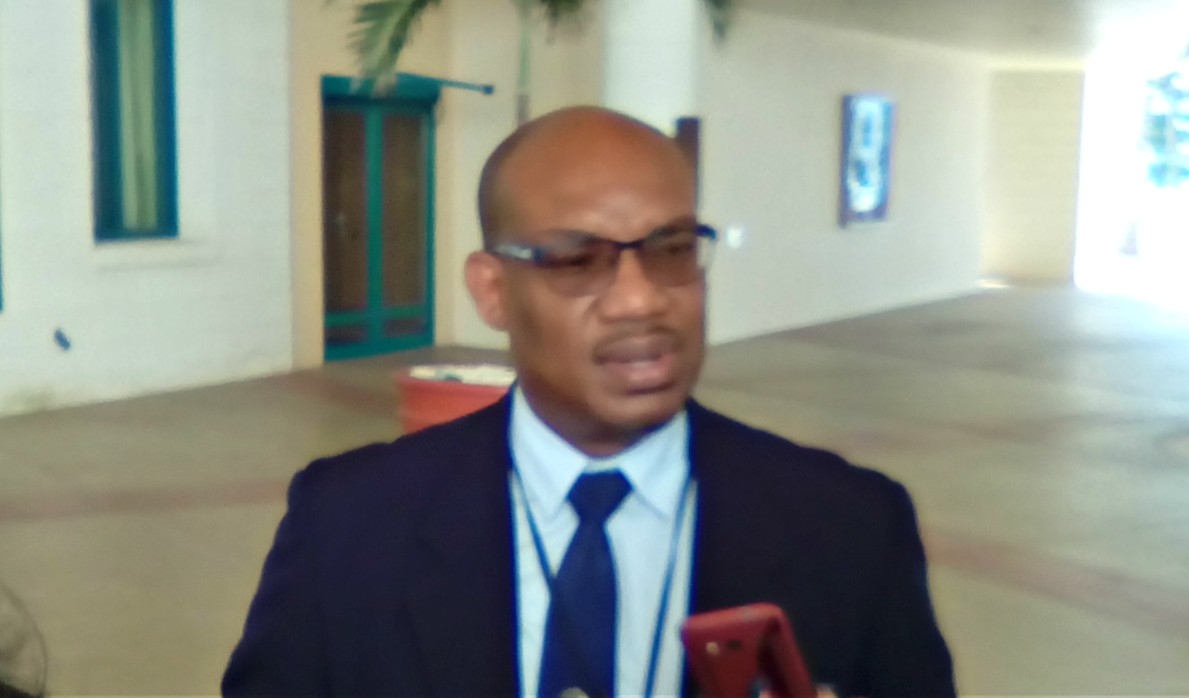 General Manager of the Barbados Water Authority (BWA), Keithroy Halliday speaking to the media on the sidelines of the Quarterly Review Meeting of the Barbados Hotel and Tourism Association (BHTA).