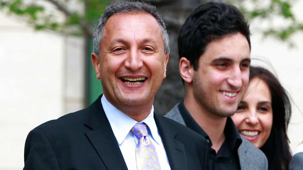 In this April 21, 2011 file photo shows MGA chief executive Isaac Larian, left, leaves federal court in Santa Ana, Calif., after a victory over Mattel Inc. The CEO of the maker of the pouty Bratz dolls is launching a campaign to salvage some of Toys R Us' U.S. business being liquidated in bankruptcy.