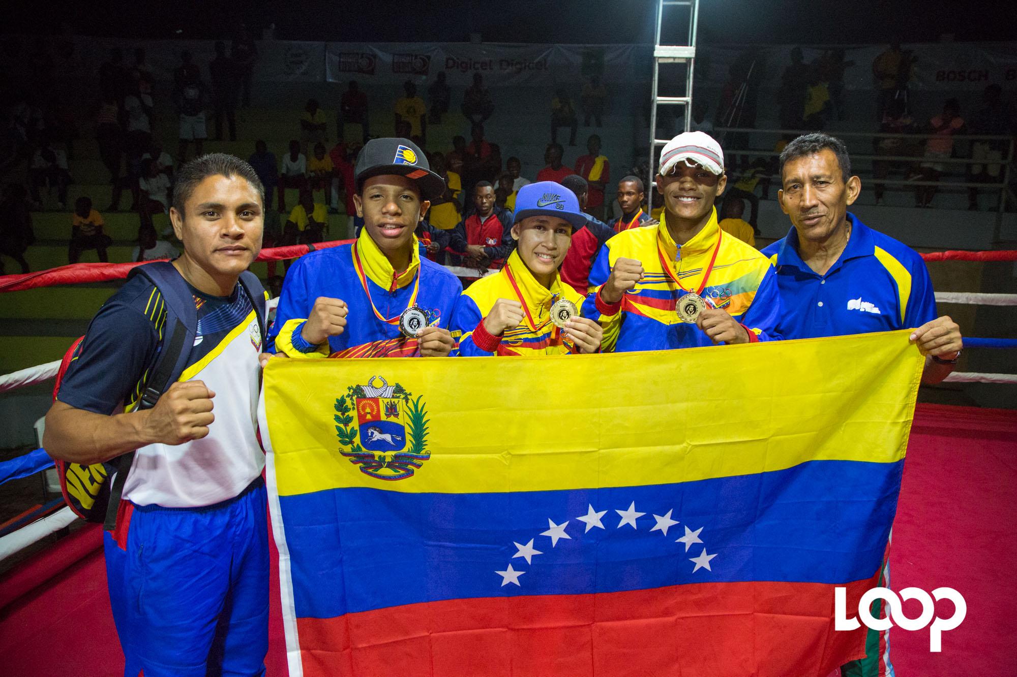 Une délégation de boxeurs professionnels vénézuéliens lors de la première édition du tournoi internationale de Boxe Hugo Chávez sur la place Hugo Chavez à Maïs Gâté./ Estailove St-Val/LoopHaïti