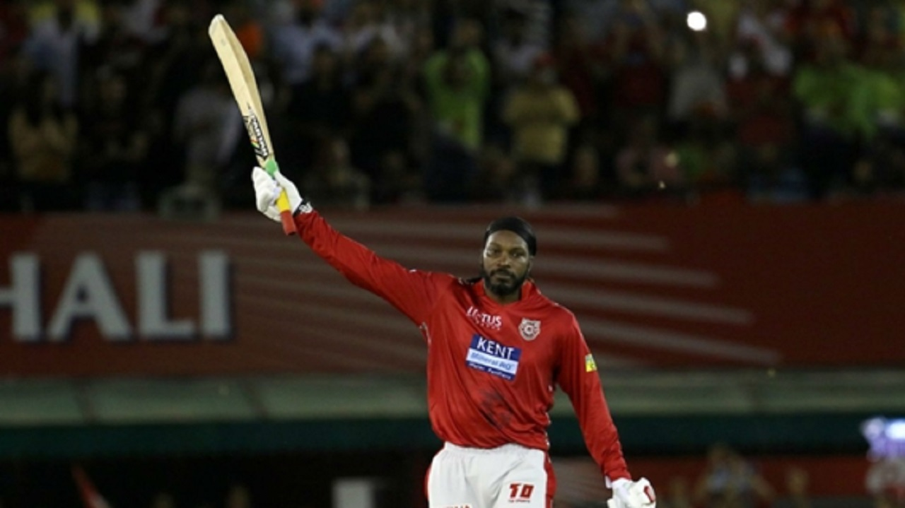 Chris Gayle celebrates another T20 century.