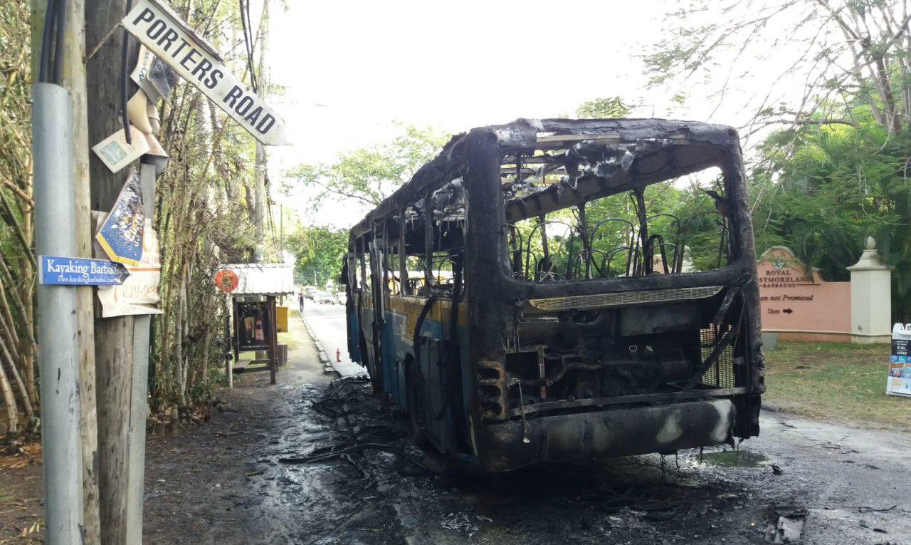 The bus was completely burnt this morning, while on its way to Speightstown.