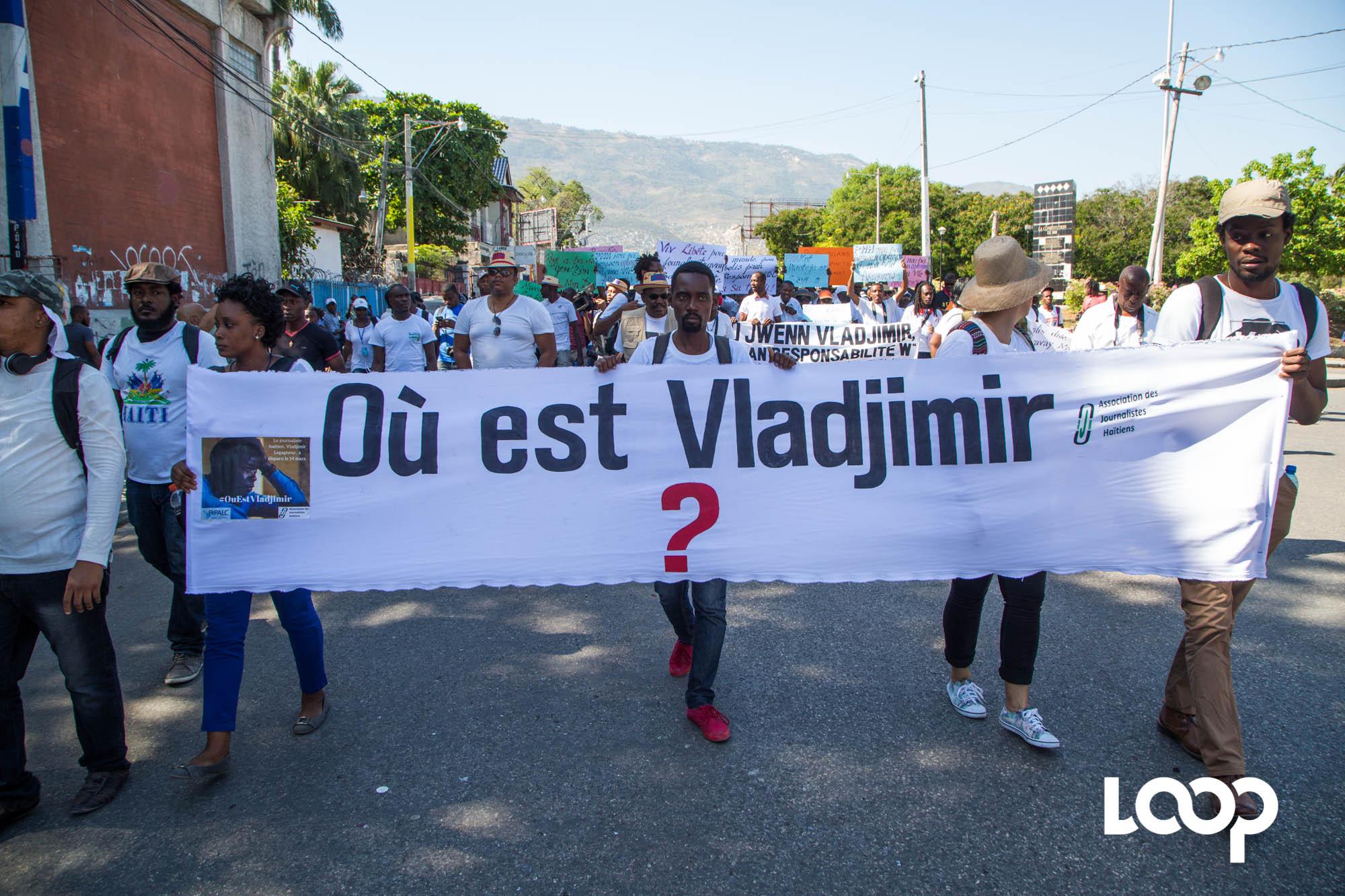 Disparition de Vladjimir Legagneur : marche des journalistes 29 mars 2018. Photo: Estaïlove St-Val