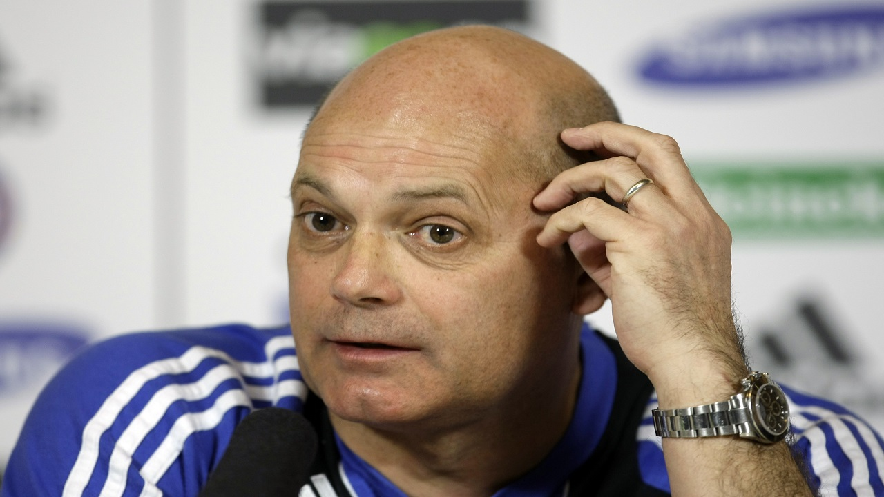 Chelsea coach Ray Wilkins speaks during a news conference at the team's training facilities in Stoke d'Abernon, England. (AP Photo/Matt Dunham, File)