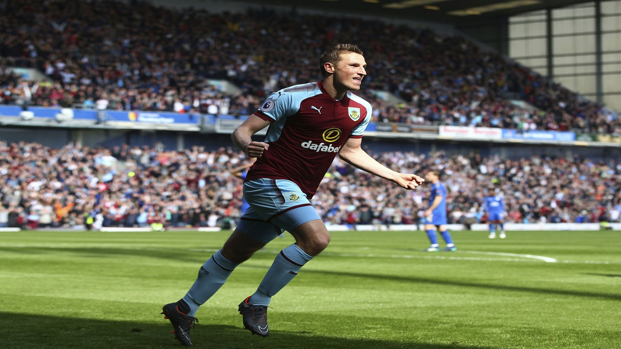 Burnley's Chris Wood celebrates scoring his side's first goal of the game during the English Premier League football match against Leicester City at Turf Moor stadium, Burnley, England. Saturday, April 14, 2018, 2018.