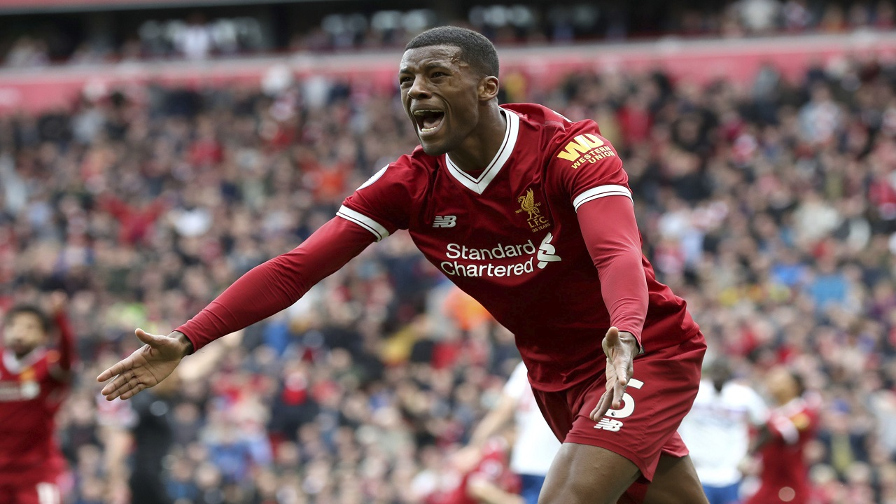 Liverpool's Georginio Wijnaldum reacts during the English Premier League football match against Stoke City, at Anfield, in Liverpool, England, Saturday April 28, 2018.