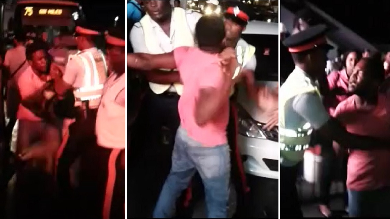 Screenshots of video showing a man resisting arrest in Half Way Tree earlier this week.