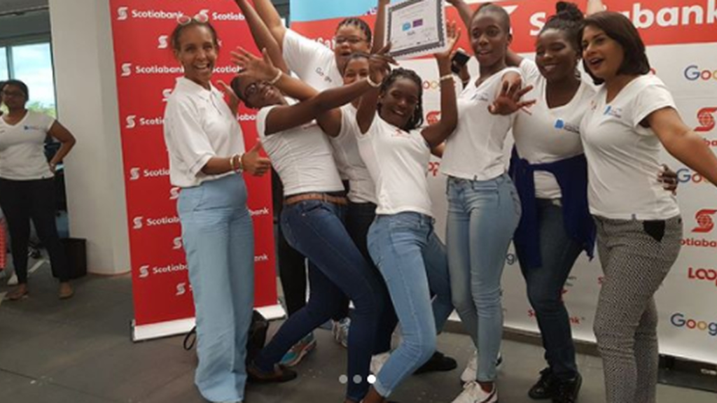 The girls of Chaguanas North Secondary School won the Girls in ICT Caribbean Hackathon for a second year in a row