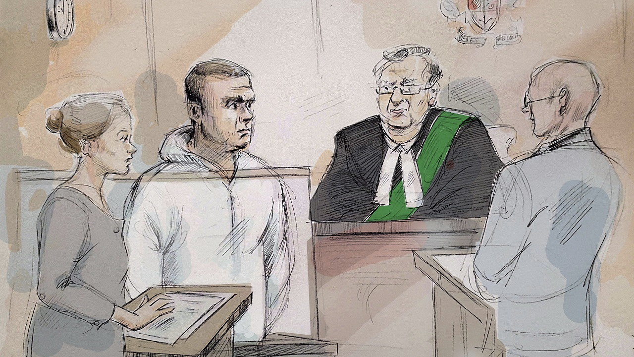 (Image: (Alexandra Newbould/The Canadian Press via AP: Drawing of scene as Alek Minassian appeared in court)