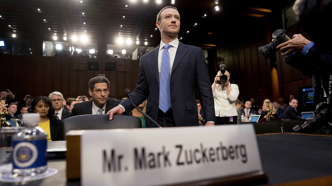 (Image: AP: Mark Zuckerberg appears before a US congressional committee on 10 April 2018)